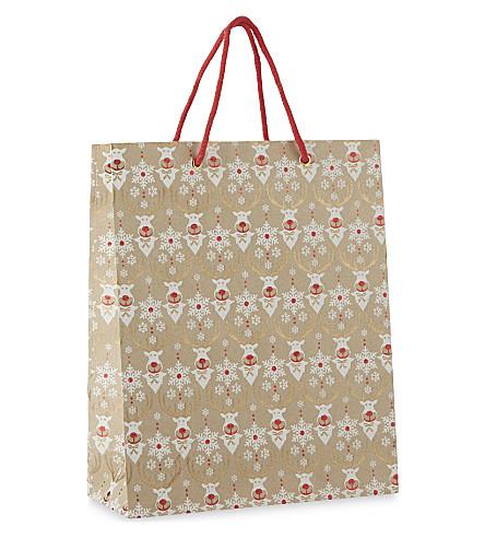 VIVID WRAP Rudolph glitter large gift bag 31cm