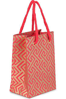 CHRISTMAS Small red and gold gift bag 15cm
