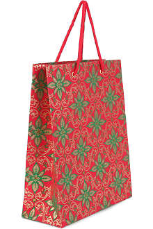 CHRISTMAS Large Poinsettia gift bag 30cm