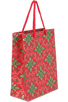 CHRISTMAS Medium Poinsettia gift bag 25cm
