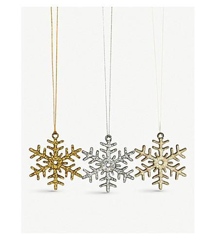 VIVID WRAP Snowflake glitter decorations set of three