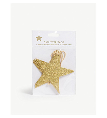 VIVID WRAP Glitter star gift tag set of five