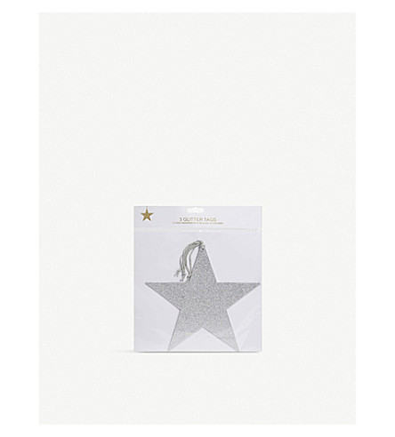 VIVID WRAP Star glitter tags extra large pack of three