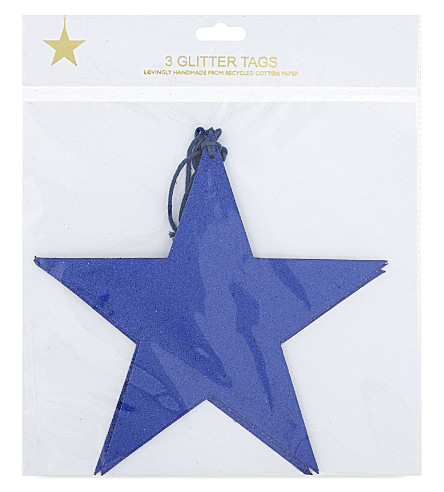 VIVID WRAP Large glitter star gift tags set of three 19.5cm