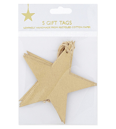 VIVID WRAP Star gift tag set of five
