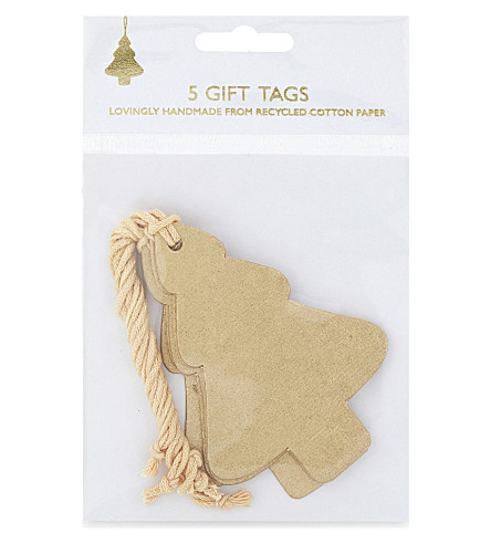VIVID WRAP Tree gift tag set of five