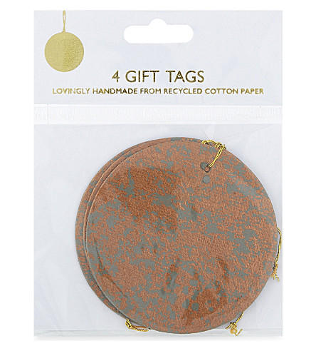 VIVID WRAP Crushed foil gift tags set of four