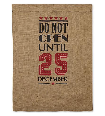 VIVID WRAP Do not open large canvas gift sack