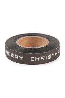 CHRISTMAS Black printed tape 20m