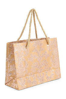 CHRISTMAS Gold Damask small gift bag