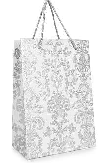CHRISTMAS Silver Damask large gift bag