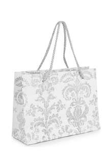 CHRISTMAS Silver Damask small gift bag