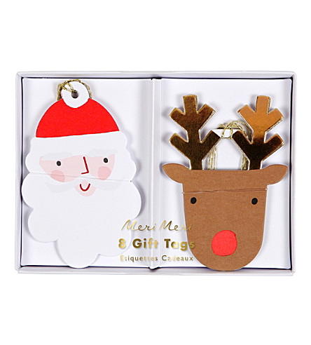 MERI MERI Santa & reindeer gift tags pack of 8