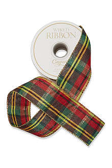 CASPARI Metallic plaid wired ribbon