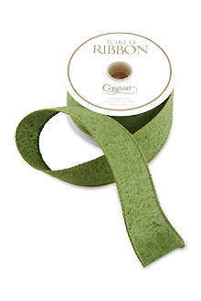 CASPARI Green linen ribbon