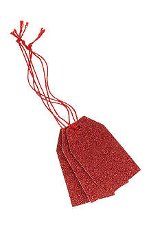 DEVA DESIGNS Pack of 10 red glitter luggage tags