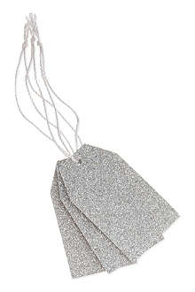 DEVA DESIGNS Pack of 10 silver glitter luggage tags