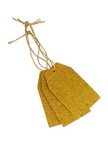 DEVA DESIGNS Pack of 10 gold glitter luggage tags