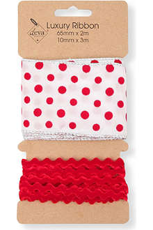 CHRISTMAS Polka dot and ric rac ribbon set