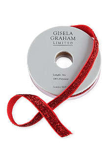 GISELA GRAHAM Red mini sparkle ribbon 3m