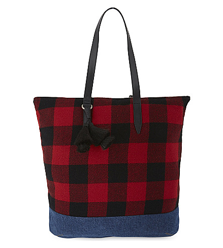 DRIES VAN NOTEN Check and denim tote (Red