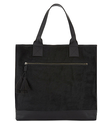 DRIES VAN NOTEN Leather and pony-hair shoulder bag (Black