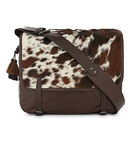 DRIES VAN NOTEN Leather and pony-hair shoulder bag (Brown