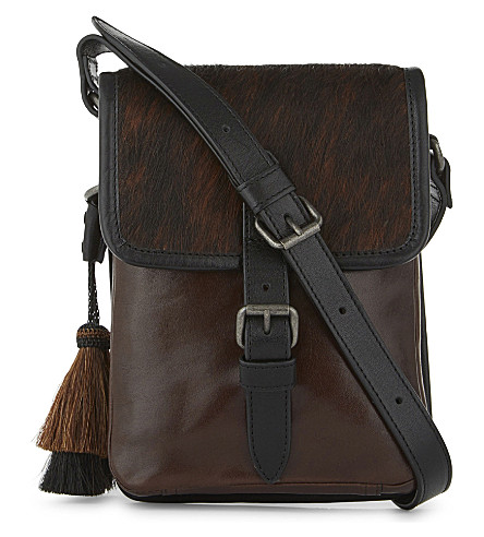 DRIES VAN NOTEN Small leather messenger bag (Brown