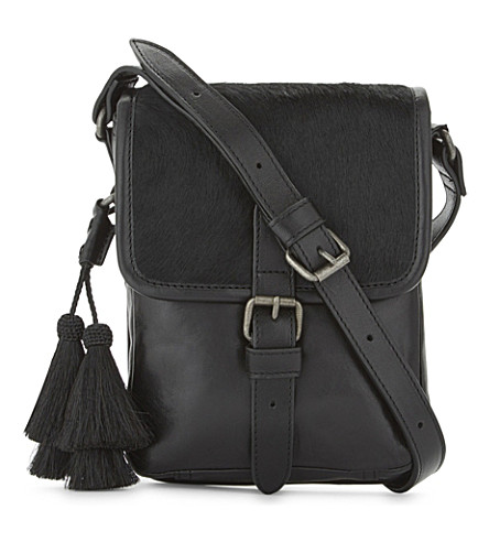 DRIES VAN NOTEN Small leather messenger bag (Black