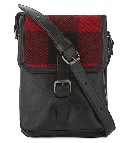DRIES VAN NOTEN Check detailed small leather messenger bag (Red+check