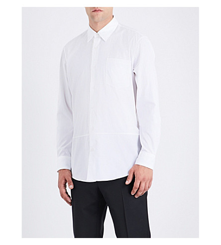DRIES VAN NOTEN Grosgrain-trimmed regular-fit cotton shirt (White