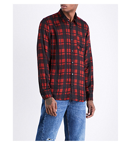 DRIES VAN NOTEN Corbin check-print satin shirt (Red+navy