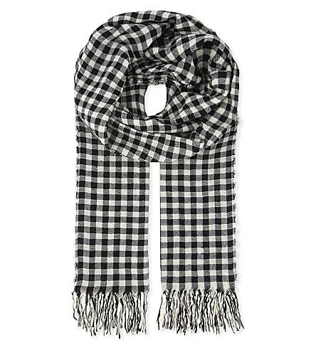 DRIES VAN NOTEN Checked print wool-cotton blend scarf (Ecru
