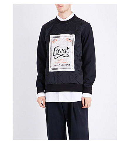 DRIES VAN NOTEN Label-print satin and woven sweatshirt (Black