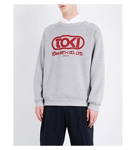 DRIES VAN NOTEN Hemingwaylabel Toki-print cotton-jersey sweatshirt (Grey