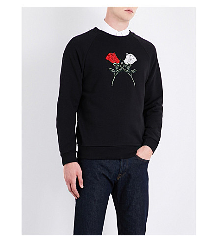 DRIES VAN NOTEN Henric floral-embroidered cotton-jersey sweatshirt (Black