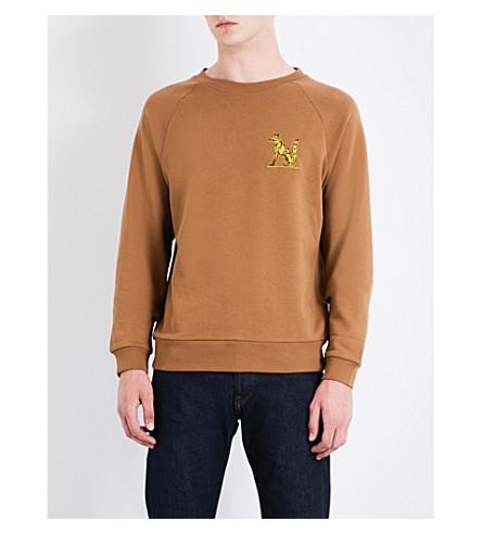 DRIES VAN NOTEN Fox embroidered cotton-jersey sweatshirt (Camel
