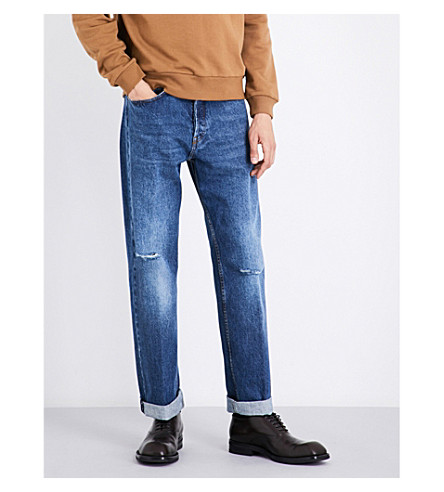 DRIES VAN NOTEN Pantherotres distressed regular-fit straight jeans (Indigo