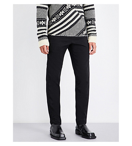 DRIES VAN NOTEN Quilted-detail pinstriped regular-fit cotton-blend trousers (Black