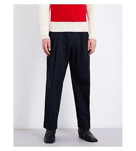 DRIES VAN NOTEN Peyton regular-fit cotton-twill trousers (Navy
