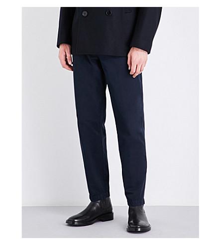 DRIES VAN NOTEN Philip tapered regular-fit cotton-twill trousers (Navy