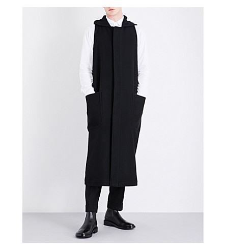 DRIES VAN NOTEN Reaver hooded sleeveless wool coat (Black