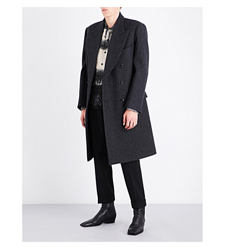 DRIES VAN NOTEN Rosier wool-blend coat (Dark+grey