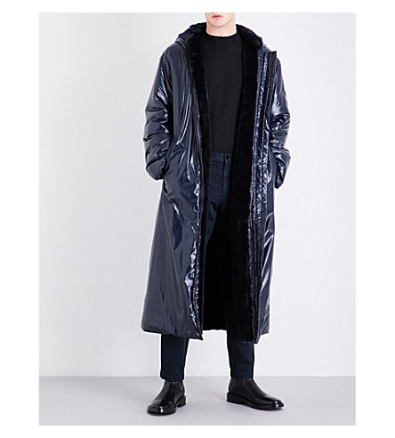 DRIES VAN NOTEN Ruffo faux-fur lined shell coat (Navy