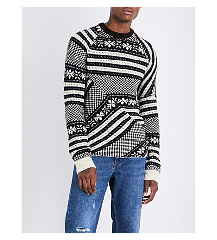 DRIES VAN NOTEN Tacos wool-blend jumper (Black+white