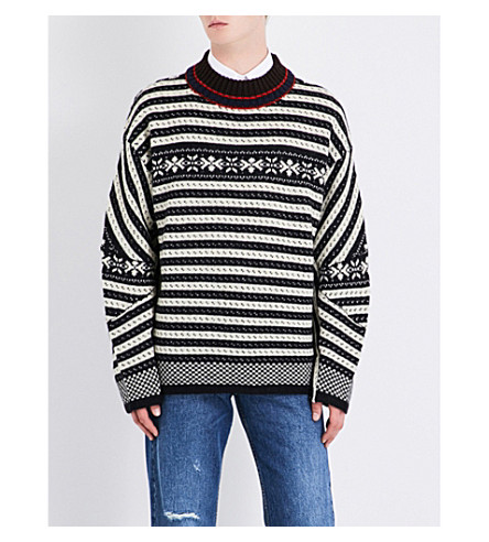 DRIES VAN NOTEN Talbot Fair Isle knitted wool-blend jumper (Black+white