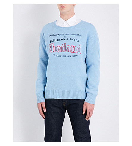DRIES VAN NOTEN Talesprint Shetland-logo knitted wool sweater (Blue