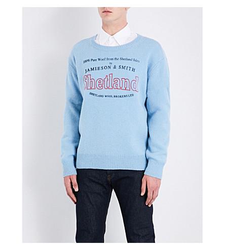 DRIES VAN NOTEN Talesprint Shetland-logo knitted wool jumper (Blue