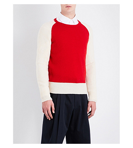 DRIES VAN NOTEN Tamal knitted wool jumper (Red+white
