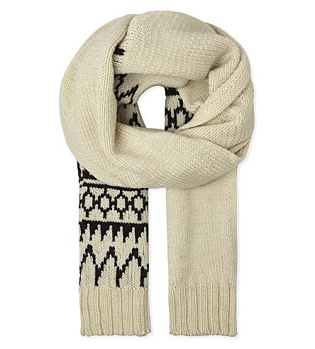 DRIES VAN NOTEN Fair Isle wool scarf (Ecru
